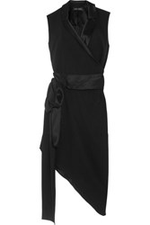 Baja East Asymmetric Satin Trimmed Crepe Dress Black