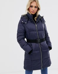 Pieces Long Line Padded Puffer Jacket Navy