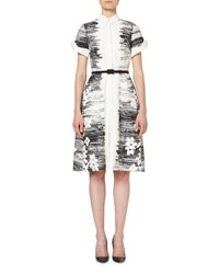 Carolina Herrera Short Sleeve Floral Belted Shirtdress Black Pattern