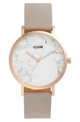 Cluse Women's 'La Roche' Leather Strap Marble Watch 38Mm Grey White Marble Rose Gold