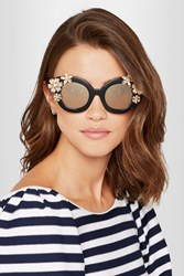 Alice Olivia 20Th Madison Cat Eye Crystal Embellished Acetate Sunglasses Black