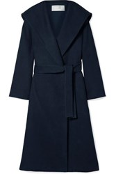 The Row Riona Oversized Hooded Belted Cotton And Wool Blend Coat Navy
