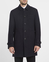 Oliver Spencer Navy Grandpa Long Wool And Cashmere Overcoat Blue