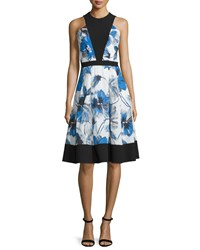 Carmen Marc Valvo Floral Print Illusion Bodice Sleeveless Cocktail Dress Size 2 Black Royal