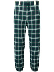 Marni Check Print Cropped Trousers Blue