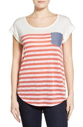 Women's Bobeau Chambray Pocket Stripe Cap Sleeve Top White Coral