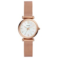 Fossil Es4433 'S Mini Carlie Bracelet Strap Watch Rose Gold White