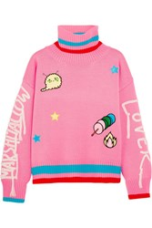 Mira Mikati Embroidered Appliqued Wool Blend Turtleneck Sweater Bright Pink
