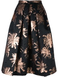 Eggs Floral Print Full Skirt Black
