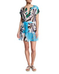 Emilio Pucci Parasol Hammered Silk Coverup Dress Turquoise Turchese