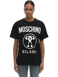 Moschino Over Logo Print Cotton Jersey T Shirt Black