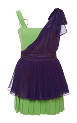 Ungaro Emanuel Color Block Peplum Mini Dress Green Purple