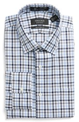 Nordstrom Men's Big And Tall Men's Shop Smartcare Tm Traditional Fit Plaid Dress Shirt Blue Surf