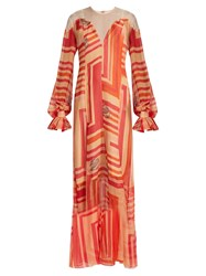 Katie Eary Geo Print Silk Chiffon Maxi Dress Red Multi