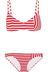 Araks Elsa Striped Triangle Bikini Red