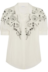 Oscar De La Renta Embroidered Silk Blouse White