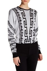 Versus By Versace Long Sleeve Knit Sweater White