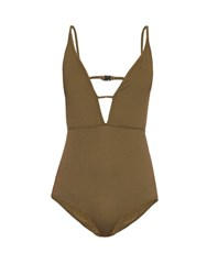 Zimmermann Lotte High Tri V Neck Swimsuit Khaki