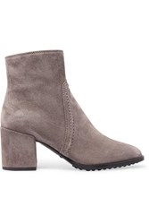 Tod's Selleria Suede Ankle Boots Gray