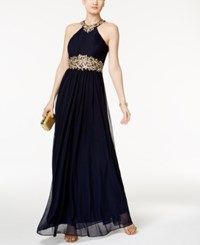 Betsy And Adam Pleated Embroidered Halter Gown Navy