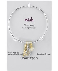 Unwritten Two Tone Wish And Crystal Wishbone Bangle Bracelet In Stainless Steel And Gold Tone