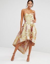 Chi Chi London Bardot Metallic Jacquard Midi Dress With High Low Hem Gold