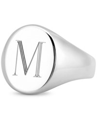 Sarah Chloe Initial Signet Ring In Sterling Silver M