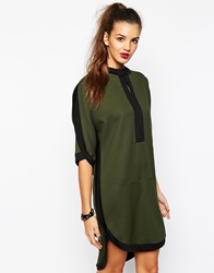 Daisy Street Oversized Relaxed Shirt Dress With Contrast Trim Khaki