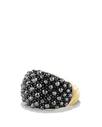 David Yurman Osetra Dome Ring With Faceted Hematine In 18K Gold Black Gold