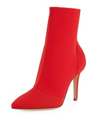 Gianvito Rossi Stretch Knit Sock Bootie Red