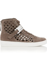 Michael Michael Kors Keaton Studded Cutout Suede High Top Sneakers Nude