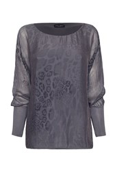 James Lakeland Leopard Print Silk Tunic Charcoal