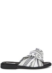 Miista Valerie Bow Embellished Leather Sliders White And Black