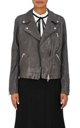 Barneys New York Women's Leather Moto Jacket Dark Grey