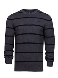 Raging Bull Men's Big And Tall Crew Neck Striped Sweater Grey