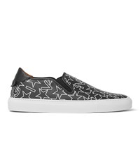 Givenchy Star Print Textured Leather Slip On Sneakers Black