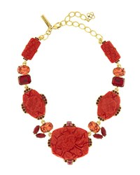 Oscar De La Renta Floral Carved Resin Necklace Cayenne Red