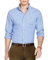 Polo Ralph Lauren Checked Stretch Oxford Slim Fit Button Down Shirt Blue Navy