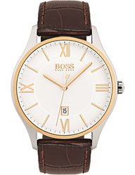 Boss 1513486 58058012 Governor Stainless Steel And Leather Strap Watch