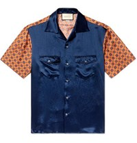 Gucci Camp Collar Satin And Printed Silk Twill Shirt Navy
