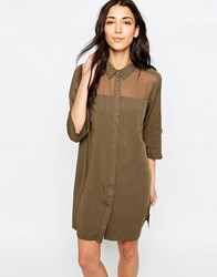 Only 3 4 Sleeve Shirt Dress With Mesh Yoke Tarmac Brown