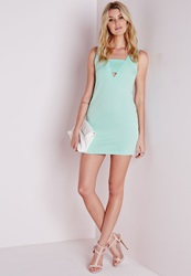 Missguided Front Band Shift Dress Mint Green