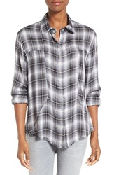 Signorelli Women's Plaid Frayed Hem Shirt Black White