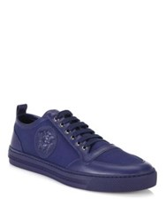 Versace Leather Canvas Lace Up Low Top Sneakers Blue