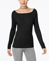 Inc International Concepts Petite Ribbed Sweater Only At Macy's Black