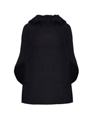 Baja East Hooded Ribbed Knit Cashmere Poncho