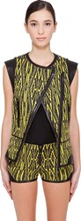 Barbara Bui Yellow And Black Leather Trimmed Vest