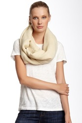 14Th And Union Tiny Texture Infinity Scarf With Fringe White