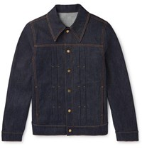 Dunhill Leather Trimmed Pleated Stretch Denim Jacket Indigo