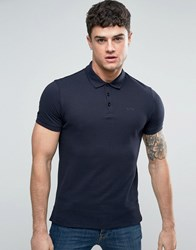 Armani Jeans Pique Logo Polo Regular Fit In Blue Blu Notte